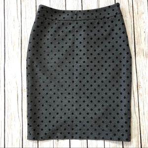 WHITE HOUSE BLACK MARKET gray Polka Dot Skirt 6